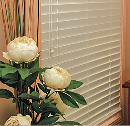 An image with artificial flowers and white venetian blinds