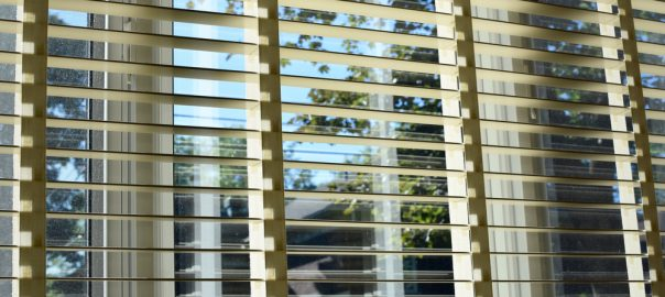 Open faux wood blinds with trees outside