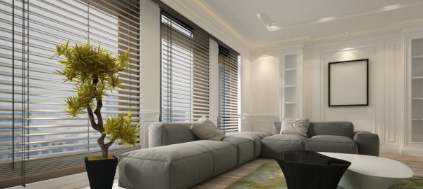 Fancy apartment living room interior with large floor to ceiling window blinds and soft grey modular sofa